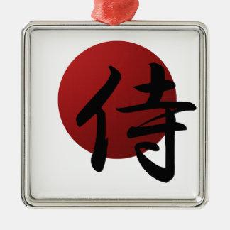 Samurai Sun Silver-Colored Square Ornament