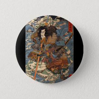 Samurai surfing on the backs of crabs c. 1800's 2 inch round button