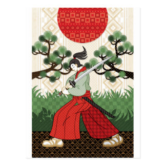 Samurai sword and pine and Japanese flag Postcard