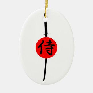SAMURAI - Sword & Kanji Ceramic Ornament