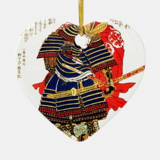 Samurai - Utagawa Kuniyoshi 歌川 国芳 Ceramic Heart Ornament