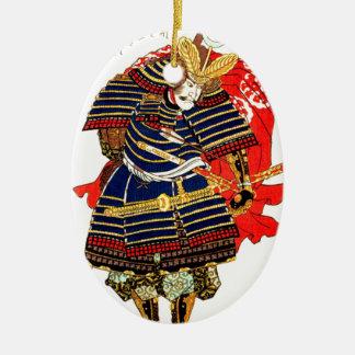 Samurai - Utagawa Kuniyoshi 歌川 国芳 Ceramic Oval Ornament