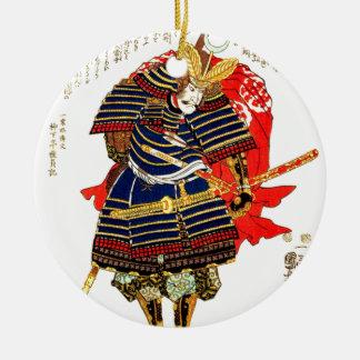 Samurai - Utagawa Kuniyoshi 歌川 国芳 Round Ceramic Ornament
