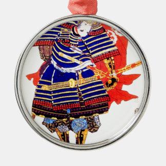 Samurai - Utagawa Kuniyoshi 歌川 国芳 Silver-Colored Round Ornament