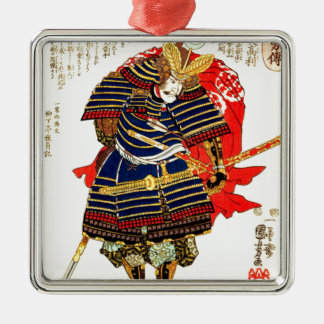 Samurai - Utagawa Kuniyoshi 歌川 国芳 Silver-Colored Square Ornament