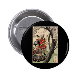 Samurai Viewing Cherry Blossoms circa 1885 2 Inch Round Button