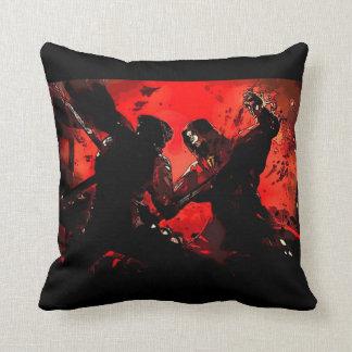 Samurai VS Ninja Watercolor Art Throw Pillow