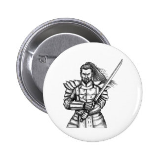 Samurai Warrior Fight Stance Tattoo 2 Inch Round Button