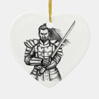Samurai Warrior Fight Stance Tattoo Ceramic Heart Ornament