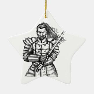 Samurai Warrior Fight Stance Tattoo Ceramic Ornament