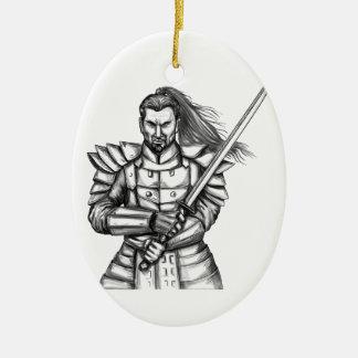 Samurai Warrior Fight Stance Tattoo Ceramic Oval Ornament