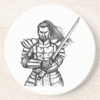 Samurai Warrior Fight Stance Tattoo Coaster