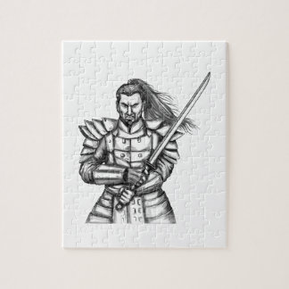 Samurai Warrior Fight Stance Tattoo Jigsaw Puzzle