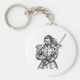 Samurai Warrior Fight Stance Tattoo Keychain