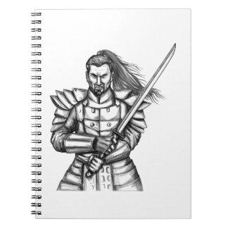 Samurai Warrior Fight Stance Tattoo Notebooks