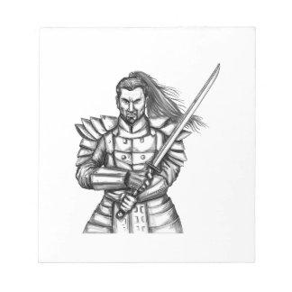 Samurai Warrior Fight Stance Tattoo Notepad