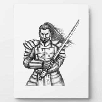 Samurai Warrior Fight Stance Tattoo Plaque