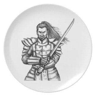 Samurai Warrior Fight Stance Tattoo Plate