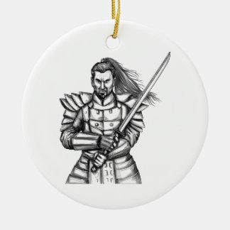 Samurai Warrior Fight Stance Tattoo Round Ceramic Ornament