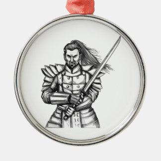 Samurai Warrior Fight Stance Tattoo Silver-Colored Round Ornament