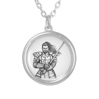 Samurai Warrior Fight Stance Tattoo Silver Plated Necklace