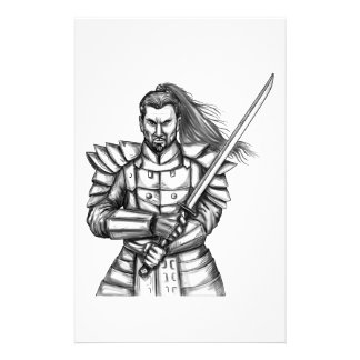 Samurai Warrior Fight Stance Tattoo Stationery