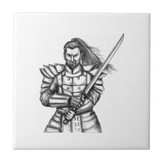 Samurai Warrior Fight Stance Tattoo Tile