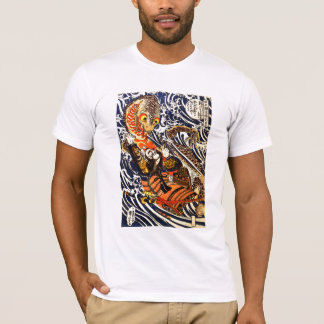Samurai Warrior Fighting Giant Salamander T-Shirt