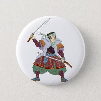 Samurai Warrior Fighting Stance Mono Line 2 Inch Round Button