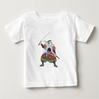 Samurai Warrior Fighting Stance Mono Line Baby T-Shirt
