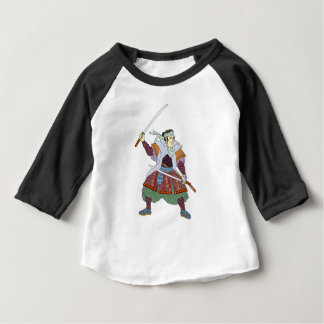 Samurai Warrior Fighting Stance Mono Line Baby T-Shirt