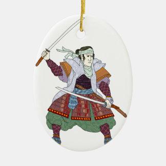 Samurai Warrior Fighting Stance Mono Line Ceramic Ornament