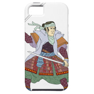 Samurai Warrior Fighting Stance Mono Line iPhone 5 Cases