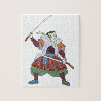 Samurai Warrior Fighting Stance Mono Line Jigsaw Puzzle