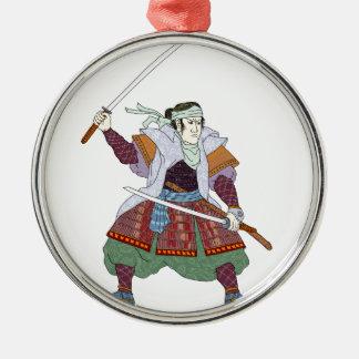 Samurai Warrior Fighting Stance Mono Line Metal Ornament