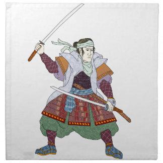Samurai Warrior Fighting Stance Mono Line Napkin