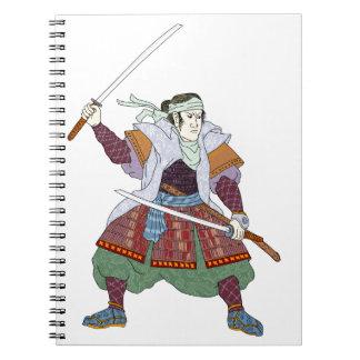 Samurai Warrior Fighting Stance Mono Line Notebooks