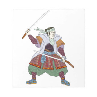 Samurai Warrior Fighting Stance Mono Line Notepad