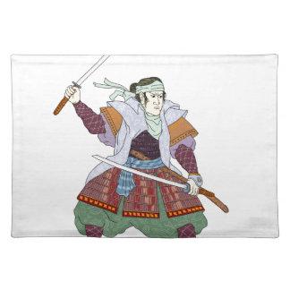 Samurai Warrior Fighting Stance Mono Line Placemat