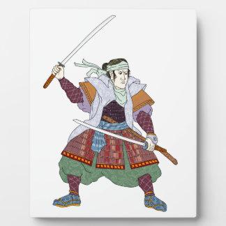 Samurai Warrior Fighting Stance Mono Line Plaque