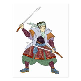 Samurai Warrior Fighting Stance Mono Line Postcard