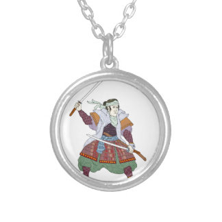 Samurai Warrior Fighting Stance Mono Line Silver Plated Necklace