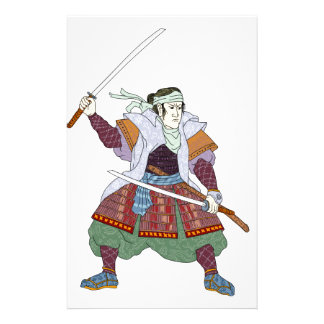 Samurai Warrior Fighting Stance Mono Line Stationery