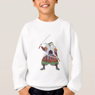 Samurai Warrior Fighting Stance Mono Line Sweatshirt