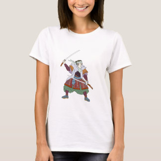 Samurai Warrior Fighting Stance Mono Line T-Shirt
