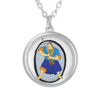 Samurai Warrior Katana Enso Silver Plated Necklace