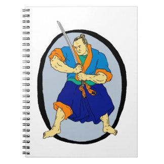Samurai Warrior Katana Enso Spiral Notebook