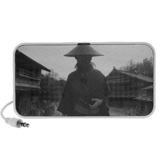 Samurai warrior standing, holding a swoard 3 speaker system