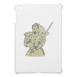 Samurai Warrior Swordfight Stance Drawing iPad Mini Cases