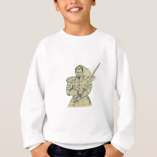 Samurai Warrior Swordfight Stance Drawing Sweatshirt
